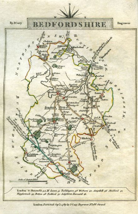 Bedfordshire County Map by John Cary 1790 - Reproduction